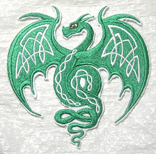 "Custom and Unique (4.7"" x 4.7"" Inch) ""Fantasy"" Mythical Creature Celtic Flying Dragon /w Knotwork Iron On Embroidered Applique Patch {Blue, Silver, & Black Colors} (Large 4.75"" x 4.75"", Green)"