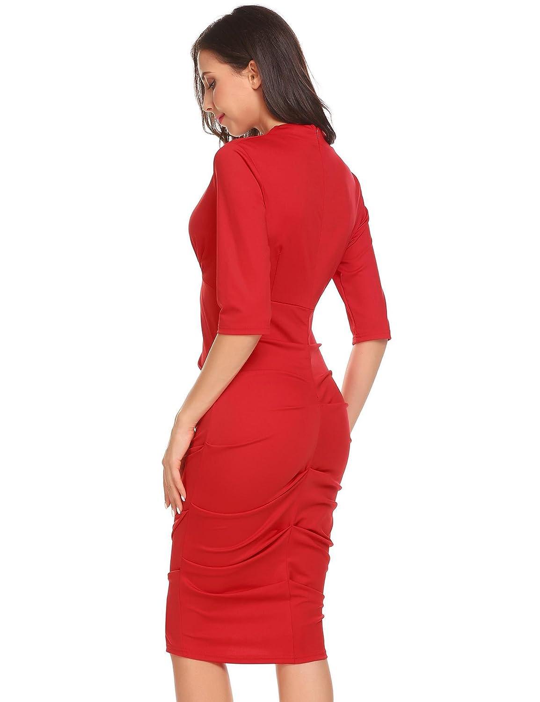 zeela Damen Sommer Etuikleid Halbarm V-Ausschnitt Kleid Knielang Abendkleid Partykleid Wickelkleid Bodycon
