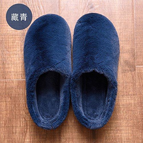 Habuji autunno e inverno home famiglia caldo cotone pantofole gli uomini e le donne spesso al coperto più morbido il legno del pavimento pantofole, 40-41, blu scuro