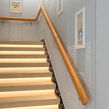 Pasamanos de Escalera de Madera Maciza con 2 Soportes de ...