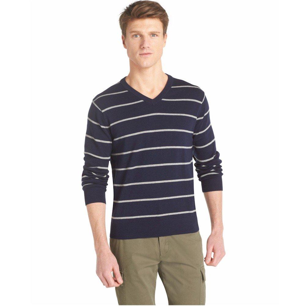IZOD Men's Road Trip Fine Gauge Striped V-Neck Sweater, Midnight, Small