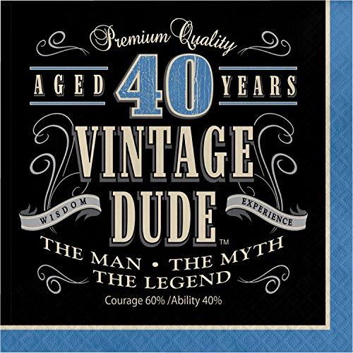 Vintage Dude 40th Birthday Napkins, 48 ct