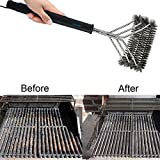 HILLPOW 3 in 1 BBQ Grill Brush,Stainless Steel Long Handle Brushes Heavy Duty Cleaner Tool Best for Charcoal Gas Electric Grills (16.5″) For Sale