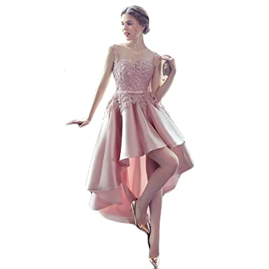 a8cead39432 YSMei Women s Front Short Back Long Lace Prom Homecoming Dresses Cap Sleeve  Cocktail Party Gowns Blush