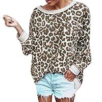QinMM Camiseta de Leopardo Otoño Mujeres Tops Casual Cuello Redondo de Manga Larga Blusa Moda T