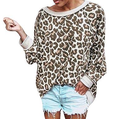 Rovinci☆ Leopardo de Las Mujeres de Manga Larga Suelta Sexy Diario Diario Tops Camiseta Blusa de Las señoras: Amazon.es: Ropa y accesorios