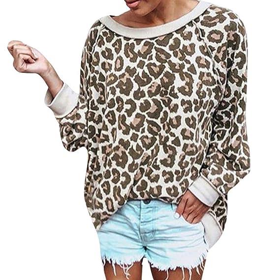 Bluse Damen mit Leoparden-Print, Jaminy Damen Lange Ärmel T-Shirt Oberteil Sexy Shirts Gedruckt Blusen Damen Hemd Bluse langä