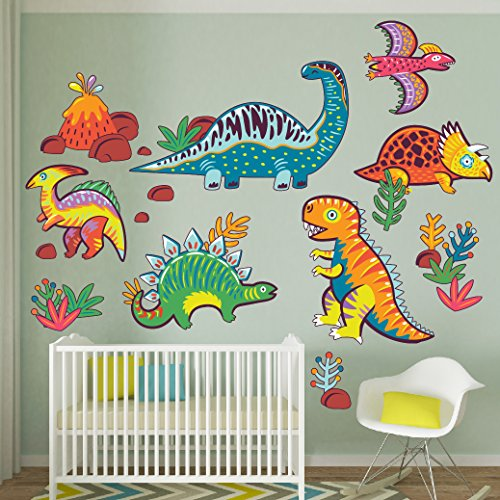Wallmonkeys Bright Colorful Dinosaurs Wall Decal Sticker Set for Kids WM502441 ()