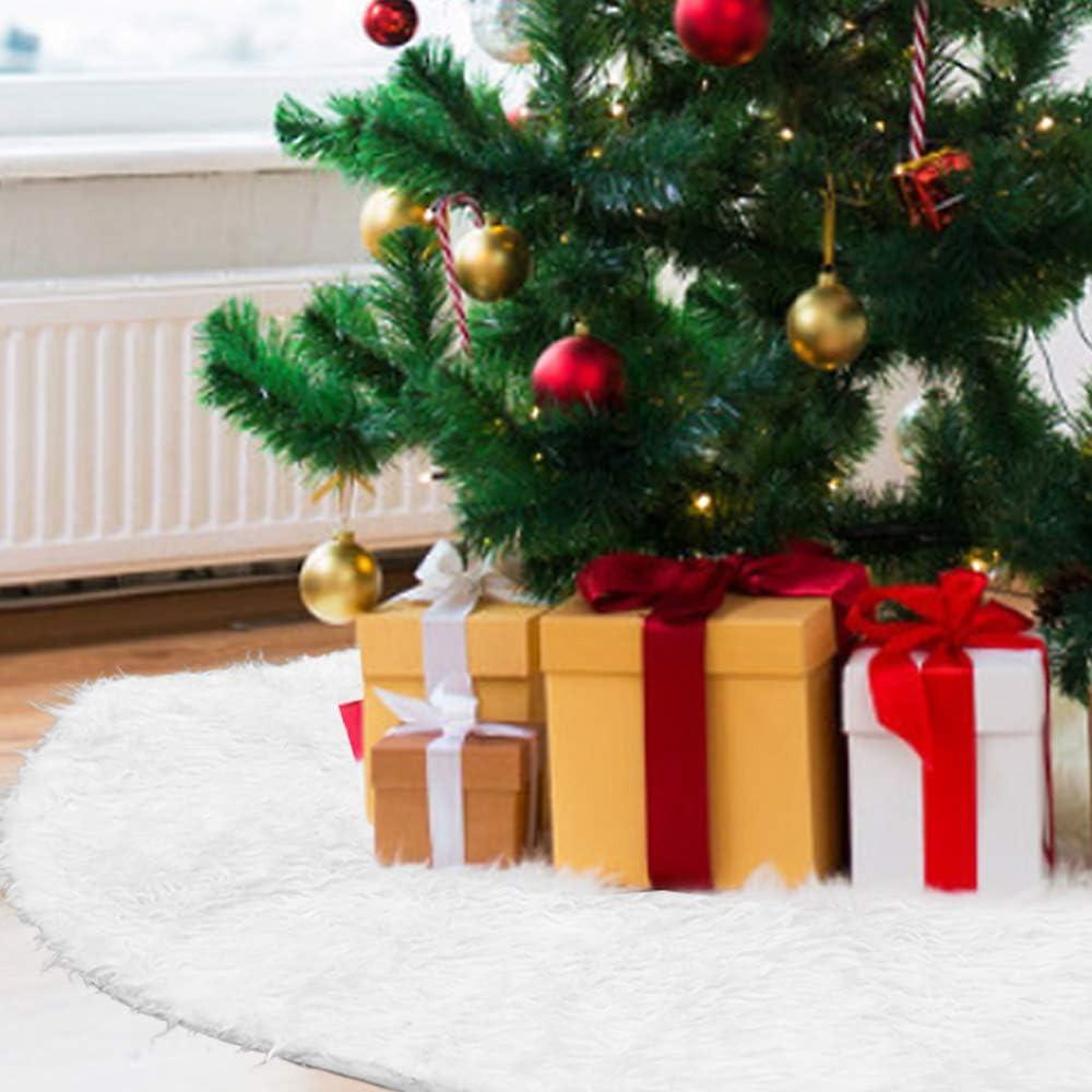 PERFETSELL Falda para Arbol de Navidad 78cm de Diametro Alfombra Arbol Navidad Falda Circular Navideña Tapete para Arbol Navideño Adornos de Falda Árbol de Piel Sintética Blanca para Arbol de Navidad
