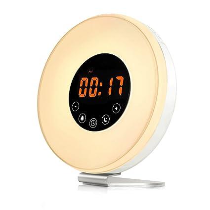 Nrpfell Despertador Sale el Sol Reloj Digital de luz Despertador con 6 Sonidos Naturales, Radio