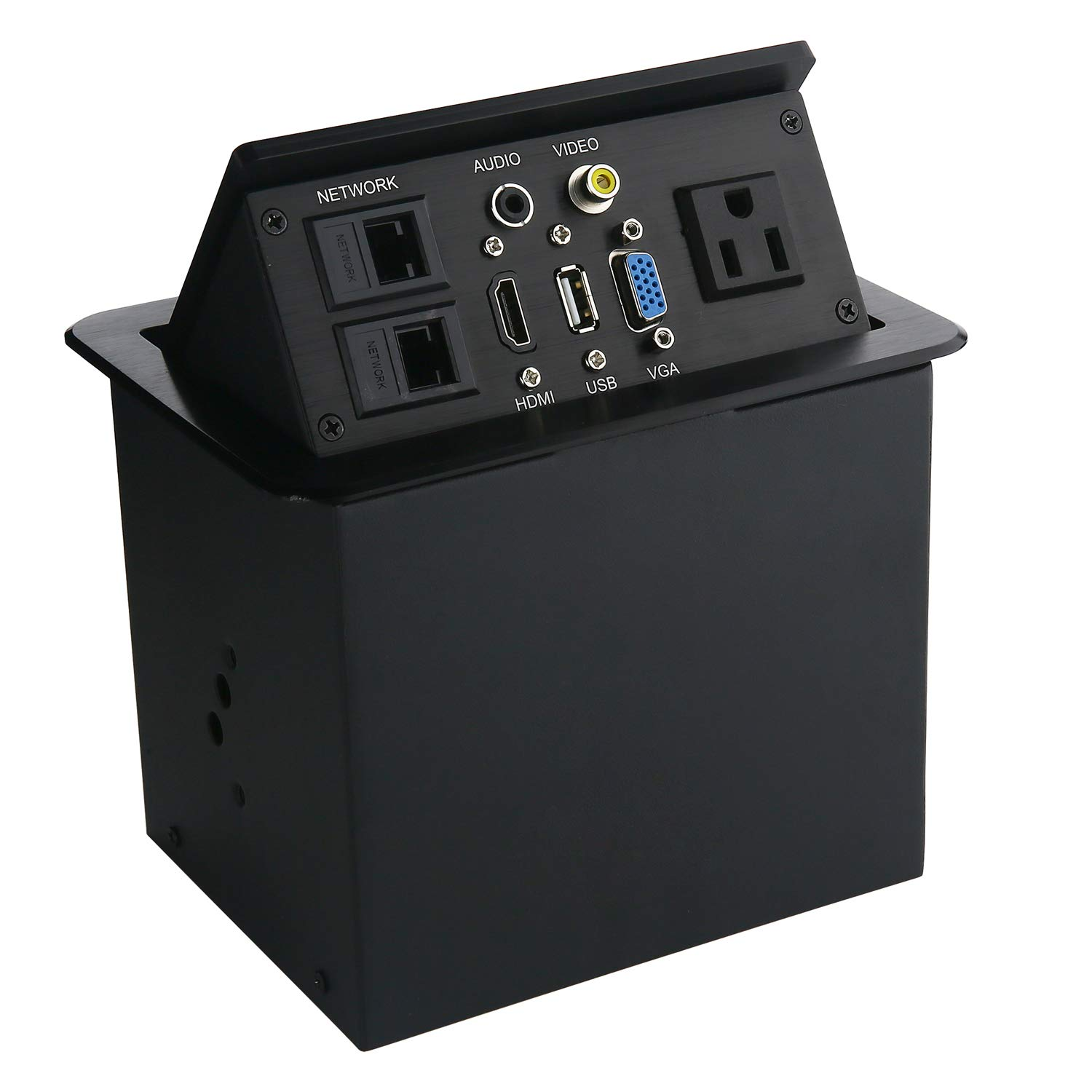 Pop Up Desk Outlet Date Center, Multimedia Information Panel Outlet with HDMI, VGA, USB, AUDIO, NETWORK, VIDEO