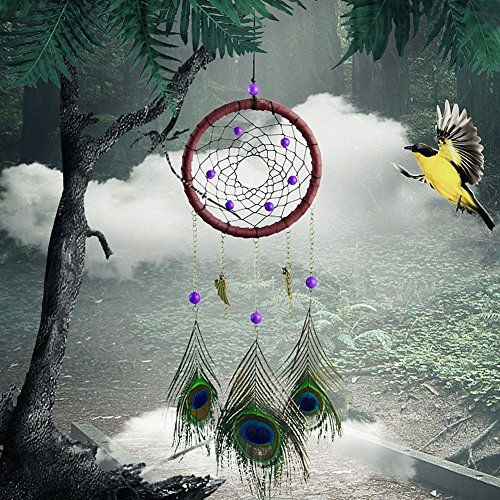 CHICVITA Homemade Dream Catcher Art Hanging Decorations Boho Simple Car Ornament Craft with Feathers
