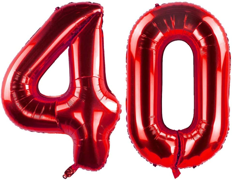 GAKA 40 Inch Red 40th Birthday Number Balloons 40 Foil Mylar Balloon for Anniversary Party Decoration