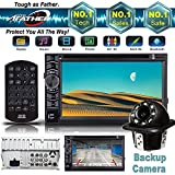 Universal 2 Din Car Stereo DVD CD Player Receiver Radio Bluetooth Touch Screen with Remote + Back up Camera Rear View Clear Parking Assist Cam - 2 Year Warranty