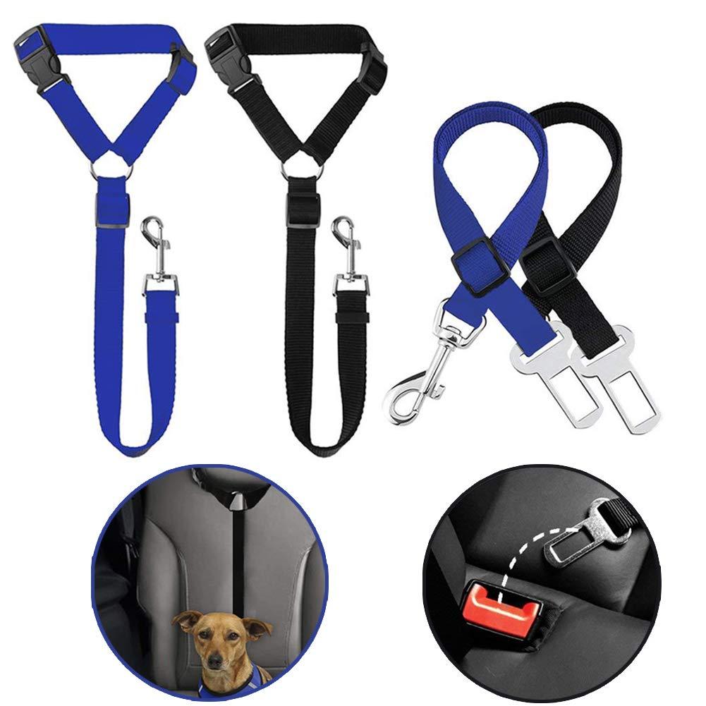 WENTS 4 Pack Cinturó n de Seguridad del Coche para Mascota Ajustable Arné s del Cinturó n de Nylon Ajustable Universal para trasportar Mascotas