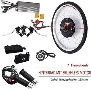 """OUKANING - Kit de conversión con rueda trasera de 28"""" para bicicleta eléctrica, 48V, 1000W"""