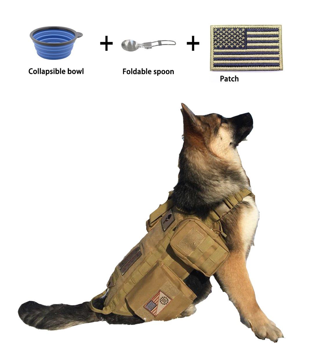EJG Military Tactical Service Dog Training Vest Molle Dog Harness Camping Hiking Traveling Nylon Adjustable Coat with 3 Detachable Pouches for Medium & Large Dog EJG®
