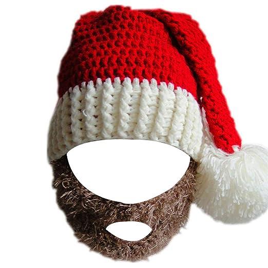 e1b024f850afb Kafeimali Unisex Christmas Winter Knitted Crochet Beanie Santa Hat with  Beard Foldaway Bearded Caps (Brown