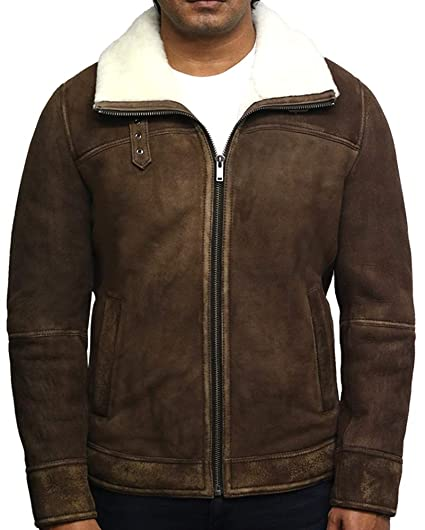 2a8c92a7da Brandslock Men s Genuine Shearling Sheepskin Spanish Merino Leather Jacket  Vintage (XS