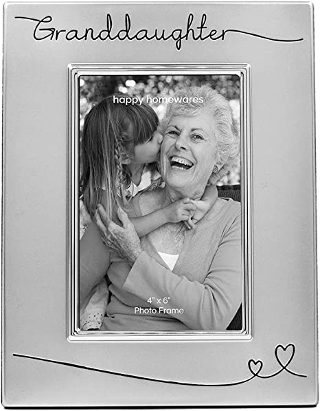 Amazon Com Haysom Interiors Beautiful Two Tone Silver Plated Granddaughter 4 X 6 Picture Frame With Black Velvet Unique And Thoughtful Gift Idea