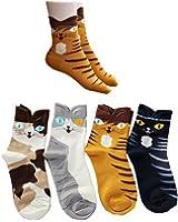 Soft Comfortable Novelty Cartoon Aminal Cat Crew Pattern Cotton Socks