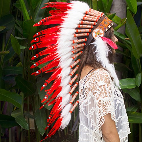 [Long Feather Headdress- Native American Indian Inspired- Handmade by Artisan Halloween Costume for Men Women with Real Feathers - Red] (Red Indian Princess Costume)