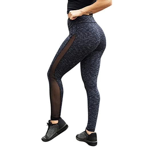 67f4dbe42b Amazon.com: Fuladelt Women's High Waist Yoga Pants Net Yarn Tummy Workout  Running Sports Leggings Patchwork Striped Active Pant: Clothing