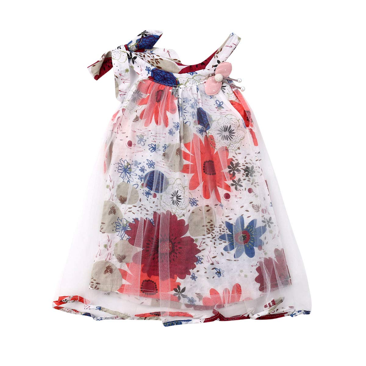 Shawnlen Toddler Infant Baby Girl Dresses Casual Spring Summer Floral Flower Printing Lace Dress for Party Wedding Pageant 0.5-3 Years