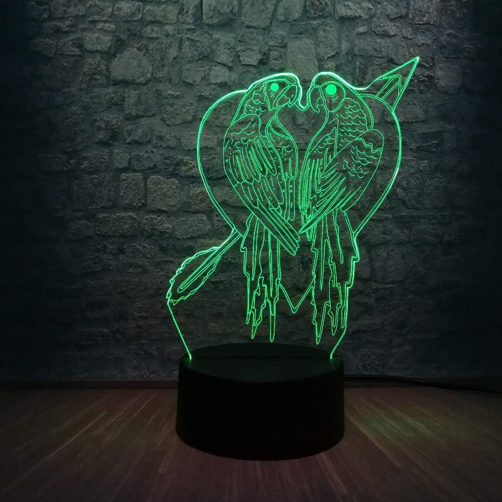 Luces De Noche Lámpara Led 3D Beso Decoración De La Casa Del Pájaro 7 Cambio De Color Mesa De Dormitorio Luz Nocturna Ambiente Regalo De Vacaciones Juguetes Para Niños Usb
