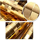 QIHANG Luxury Gold Foil Big Mosaic Background Flicker Wall Paper Modern Roll/hotel Ceiling/decorative Wallpaper Roll Gold&yellow Colour(90401)