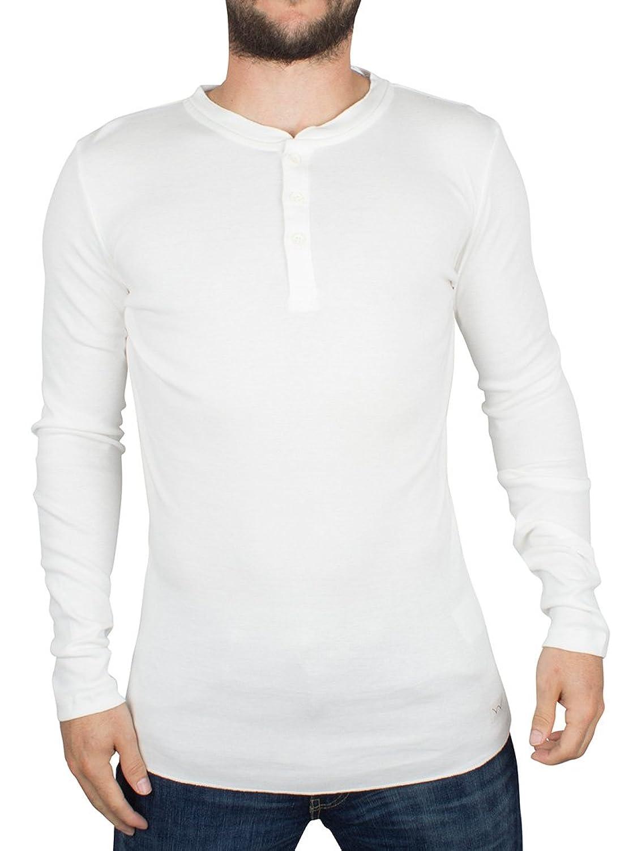 Edwin Herren Longsleeved Oarsman Henley T-Shirt, Weiß