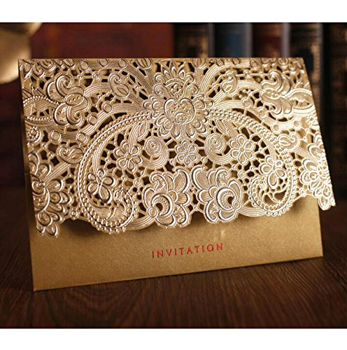 WOMHOPE 50 Pcs - Elegance Lace Emboss Laser Cut Card Wedding Invitation Party Folding Invitations Cards Birthday Invitations Cards Wedding Favors Party Favors (Gold (Set of 50 pcs))