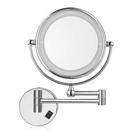 Specchio Ingranditore Da Bagno.Amzdeal Specchio Ingranditore Da Trucco Specchio Da Bagno Specchio Cosmetico Illuminato Ingradimento 7x Con Luce Led