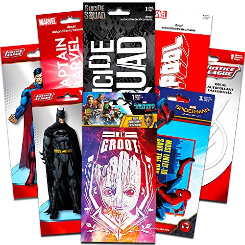 Price comparison product image Superhero Decals Ultimate Set -- 8 Premium Decal Stickers for Laptop, Car, Macbook (Guardians of the Galaxy, Spiderman, Superman, Batman, and More)