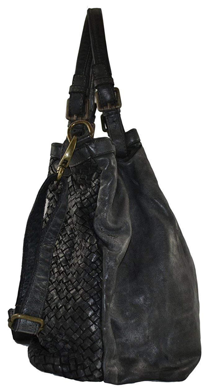 Zeta Shoes handväska av flätat läder, för kvinnor i vintagestil färgad och tvättad av flätat plagg svart