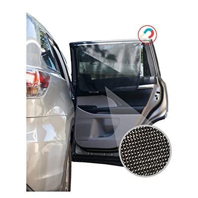 ggomaART Car Side Window Sun Shade - Universal Reversible Magnetic Curtain for Baby and Kids with Sun Protection Block Damage from Direct Bright Sunlight, Heat, and UV Rays - 1 Piece of Black Mesh: Automotive