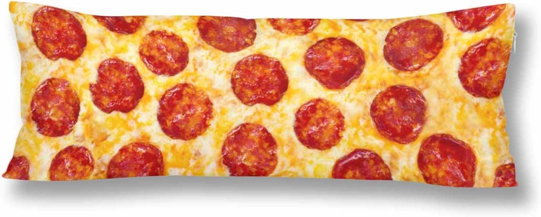 InterestPrint Pepperoni Italy Food Pizza Body Pillow Covers Pillowcase with Zipper 21x60 Twin Sides, Pizza Pattern Rectangle Body Pillow Case Protector for Home Couch Sofa Bedding Decorative