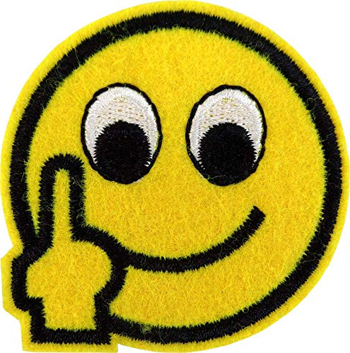 (Happy Smiley Face Emoji Flipping Bird - Cut Out Embroidered Iron On or Sew On Patch)