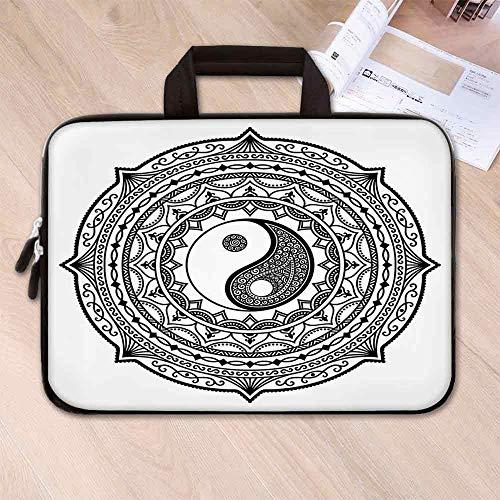 - Ying Yang Lightweight Neoprene Laptop Bag,Circle Mandala Pattern with Yin Yang Sign Made with Paisley Motif Karma Cosmos for Laptop Tablet PC,17.3''L x 13''W x 0.8''H