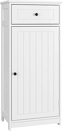 Homfa Bathroom Floor Cabinet, 17.7Lx11.8Wx39.4H inch Free Standing Side Cabinet Dresser Wooden Storage Organizer with 1 Large Drawer and Door for Bedroom Home Office, White