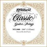 D\'Addario NYL040 Rectified Nylon Classical Guitar Single String ,.040