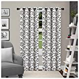 """dark grey curtains the range Superior Leaves Blackout Curtain Set of 2, Thermal Insulated Panel Pair with Grommet Top Header, Beautiful Leaf Jacquard Room Darkening Drapes, Available in 4 Lengths  - Grey, 52""""x96"""" each"""