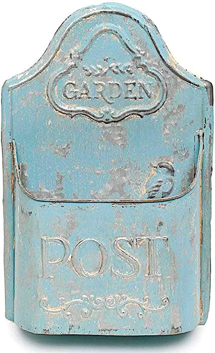"""Antique Blue Garden Post Wall Planter Hanging Metal Bucket Container Organizer for Flowers Succulent Mail Tools Distressed Indoor Outdoor 14"""" x 9"""""""