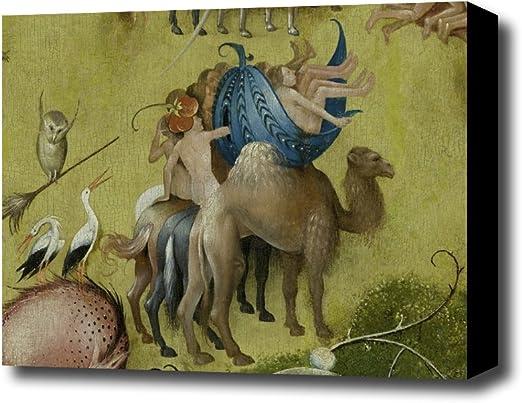 Carpeta Hieronymus Bosch el jardín de las delicias panel detalle central marrón mid lienzo decorativo derecha, con 3,81 cm marco de profundidad con borde negro; 17 x 14: Amazon.es: Hogar