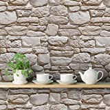 DeStudio 'Old Vintage Stone' Peel and Stick Wallpaper (Self Adhesive), 01 Roll / 44 Sqft (40 cm X 1016 cm) 14486