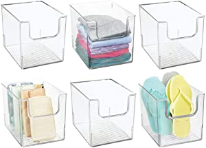 mDesign Plastic Open Front Closet Home Storage Organizer Bin Box Container - for Bedroom, Cube Furniture Shelving Units - Holds Men's, Women's, Kids Clothing, Accessories - 8