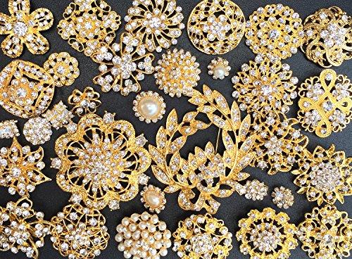 32 pcs Rhinestone Gold Brooch Lot Wedding brooch Bouquet DIY Kit wholesale assorted lot set crystal rhinestone Bridal BR673 - Wholesale Fashion Brooches