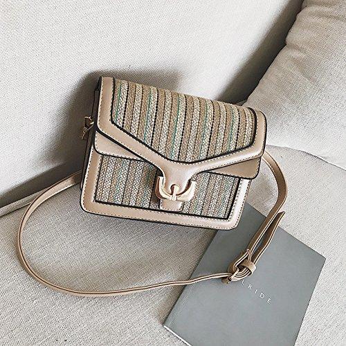 Satchel Satchel Tide Tote Of Color White Shoulder Black Shoulder Straw Korean Bag Square Bag Single Woven Bag Handbags Bag Version Fashion Olici Small aTwxfqAXn
