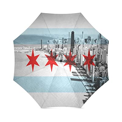 free shipping Custom Chicago Flag Compact Travel Windproof Rainproof Foldable Umbrella