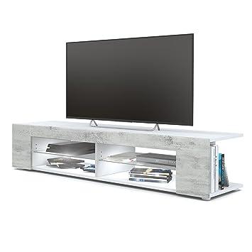 Meuble Tv Armoire Basse Movie Corps En Blanc Mat Facades En Aspect Beton Oxyde Avec L Eclairage Led En Blanc